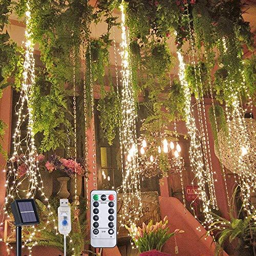 200 LED luces solares al aire libre 8 modos de parpadeo solar/USB alimentado IP65 impermeable alambre de cobre cascada luces de temporizador y ganchos luces de hadas al aire libre