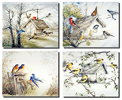 Birdhouse Feeder Gold Finches Birds Picture 16x20 Four Set Bluebirds Wall Decor Art Print Posters
