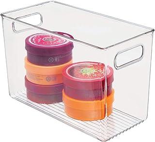 mDesign boite de rangement salle de bain – bac de rangement étroit avec poignée pour shampoing, serviettes et autres acces...