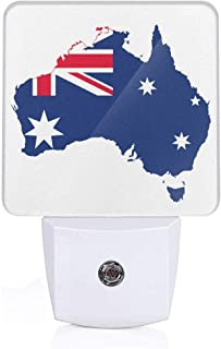 Map and Flag of Australia Plug-in LED Night Light Lamp with Light Sensor, Auto On/Off, Energy Efficient