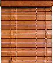 木製 ウッド ブラインド 【幅164cm×高さ85cm】 35mmスラット ミディアムブラウン/幅161~170cm×高さ31~100cm から選べる