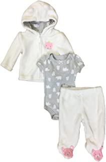 e20e7e8b3 Infant Girls Baby Outfit Plush Ivory Princess Bear Hoodie Bodysuit & Pants