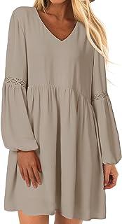 YOINS Vestido sexy de verano para mujer, vestido de novia, cuello redondo, manga larga, minivestido de verano, camiseta la...