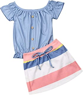 Kids Girl Summer Casual Outfit Set, Toddler Girl Short Sleeve+Stripe Skirt Clothes 2Pcs Suit