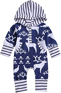WARMSHOP Good Quality Toddler Knitted Cotton Coogan Christmas Deer Print Baby Romper Outfit