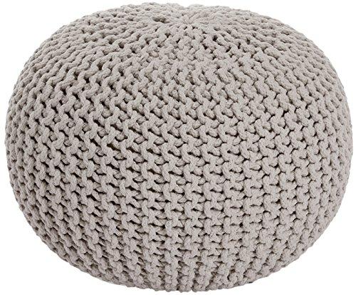 ANTARRIS Sitzpuff Sitzhocker Bodenkissen Ottonmane ver. Farben Ø 55 cm B 40cm Neues Modell: extra hoch Premium Baumwolle handgeknüpft (Beige)