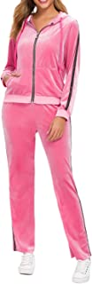 TrendyCosmo Sweatsuits for Women, 2 Piece Tracksuit Set Velvet Stripe Zipped Hooded Sweatshirts & Pants Sets