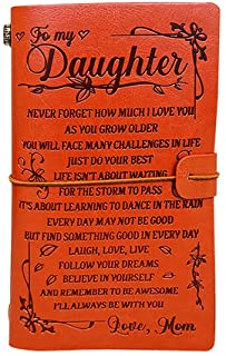 """To My Daughter Leather Journal from Mom - Just Do Your Best - 7.88""""x4.7""""Embossed Vintage Refillable Writing Journal for Ch..."""