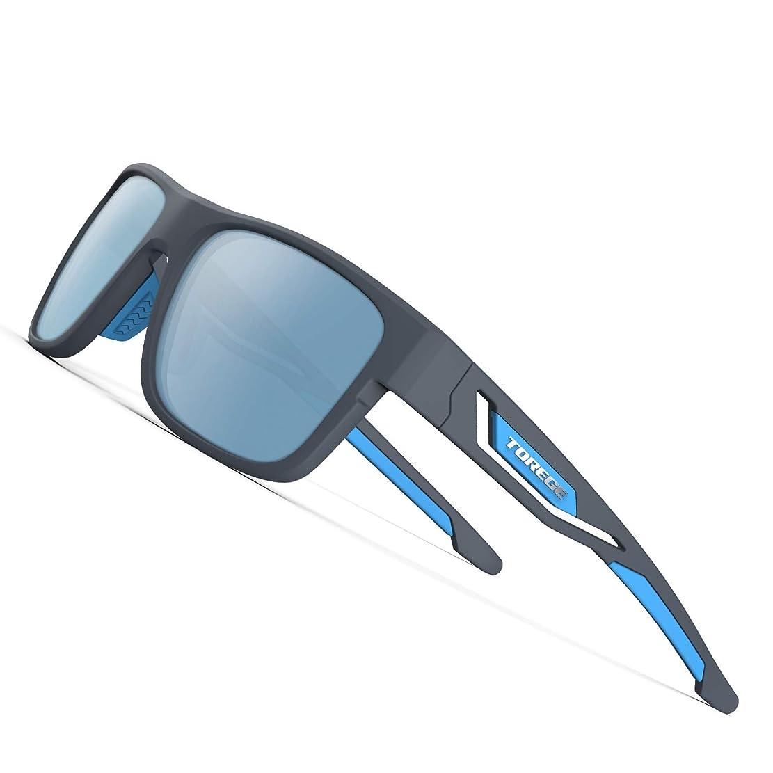 慎重に吸収絶滅させるTorege 偏光レンズ サングラス 超軽量フレームTR90 UV400 紫外線カット 抗衝撃 男女兼用 スポーツサングラス/ 自転車/釣り/野球/テニス/スキー/ランニング/ゴルフ/ドライブ 運動メガネTR12