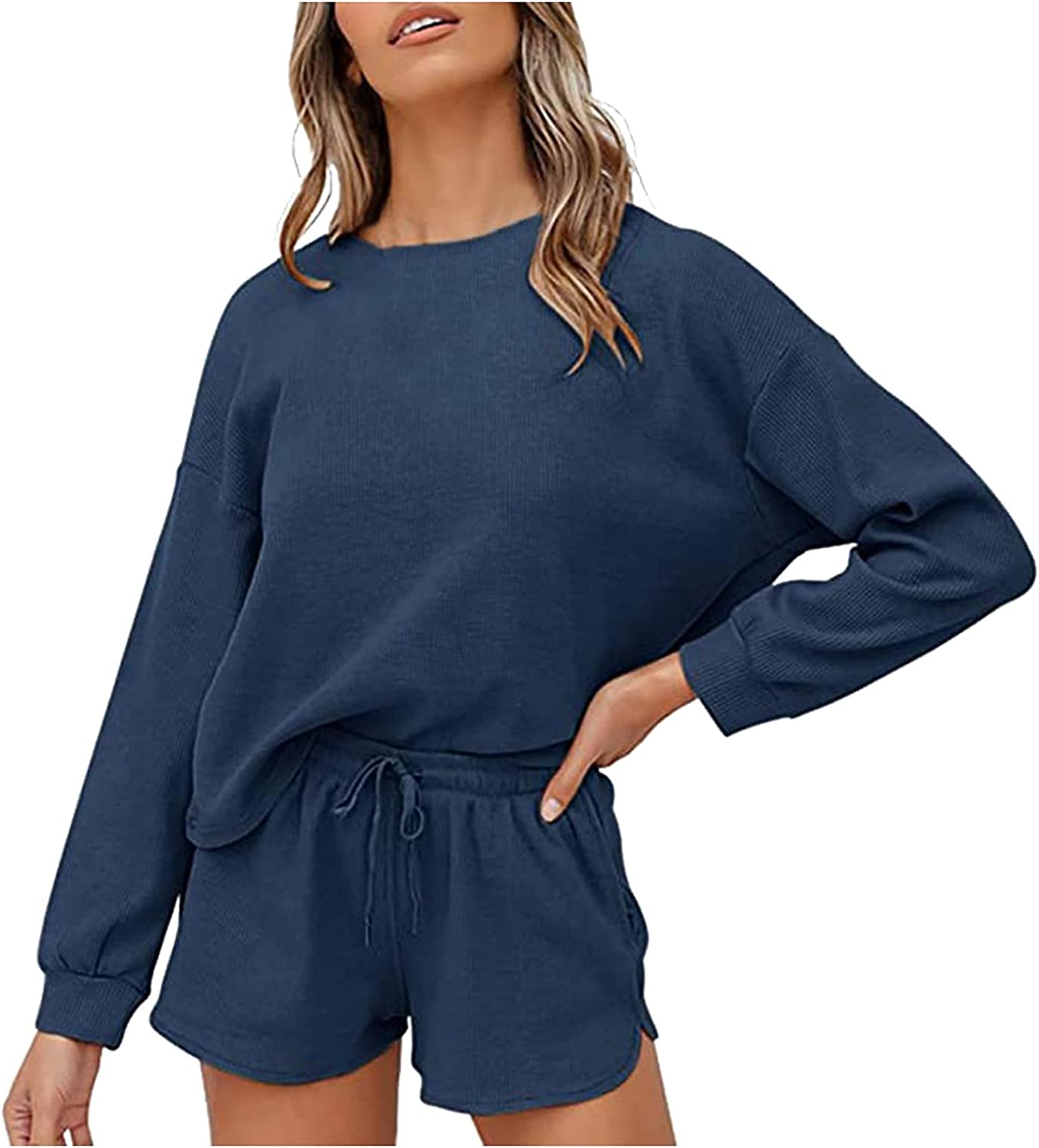 FNJJLU Two Piece Outfits for Women, Long Sleeve O-Neck Tops Short Pants Sets Casual Sports Outfits Beach Party Suit Set