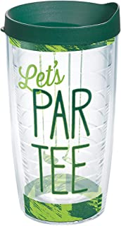 Tervis Let's Par Tee Tumbler with Wrap and Hunter Green Lid 16oz, Clear