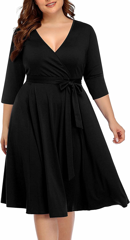 Pinup Fashion Women's Plus Size V-Neckline Dresses Faux wrap Stretchy Casual Wedding Guest Midi Dress