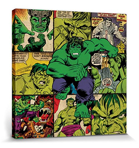 1art1 Der Unglaubliche Hulk - Hulk Squares, Marvel Comics Bilder Leinwand-Bild Auf Keilrahmen | XXL-Wandbild Poster Kunstdruck Als Leinwandbild 40 x 40 cm