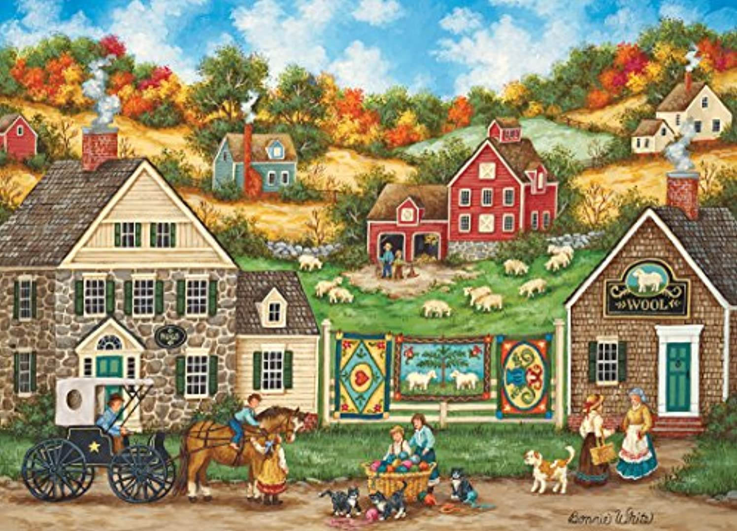 MasterPieces Hometown Gallery Jigsaw Puzzle, Great Balls of Yarn, Featuring Art by Bonnie White, 1000 Pieces