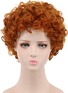 Yuehong Cosplay Wig Short Wavy Orange Full Wigs For Kids Party Halloween Costume