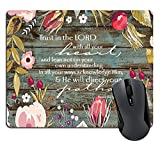 Wknoon Christian Bible Verses Scripture Quotes Proverbs 3-5 Mouse Pad, Trust in The Lord with All Your Heart Mouse Pads Vintage Old Floral Wood Design Mat