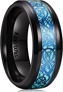 Aurora 7mm/8mm Green/Blue Celtic Dragon Aurora Luminou Glow Black/Silver Titanium Wedding Ring for Unisex