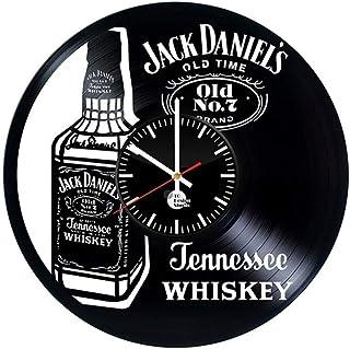 ウイスキーの創造的なビニールレコードの壁時計のレトロな手作りの家の装飾の壁時計、30センチ(12インチ)のボトル (Size : 30cm(12inch))