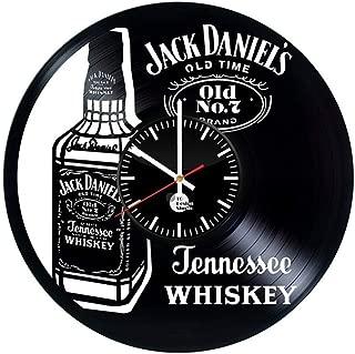 Wall clock QUANFANG SHOP A Bottle of Whiskey Creative Vinyl Record Wall Clock Retro Handmade Home Decor Wall Clock,30cm(12inch) Size : 30cm(12inch)