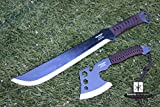 Outdoor Camping & Hunting Machete Knife and Thrower Axe w/ Back Carry Nylon Case