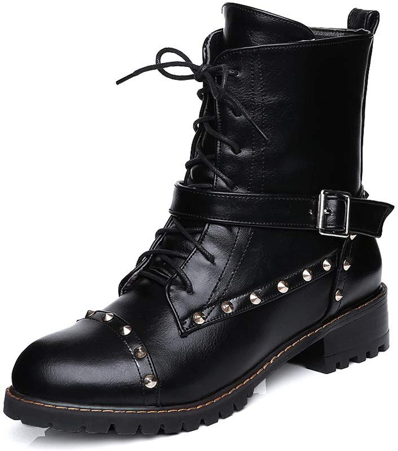 1TO9 Womens Studded Boots Smooth Leather Urethane Boots MNS03094