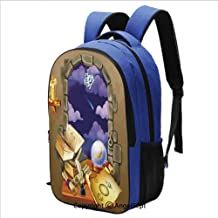 Backpack for School College Student Medieval Ancient Castle Window with Crystal