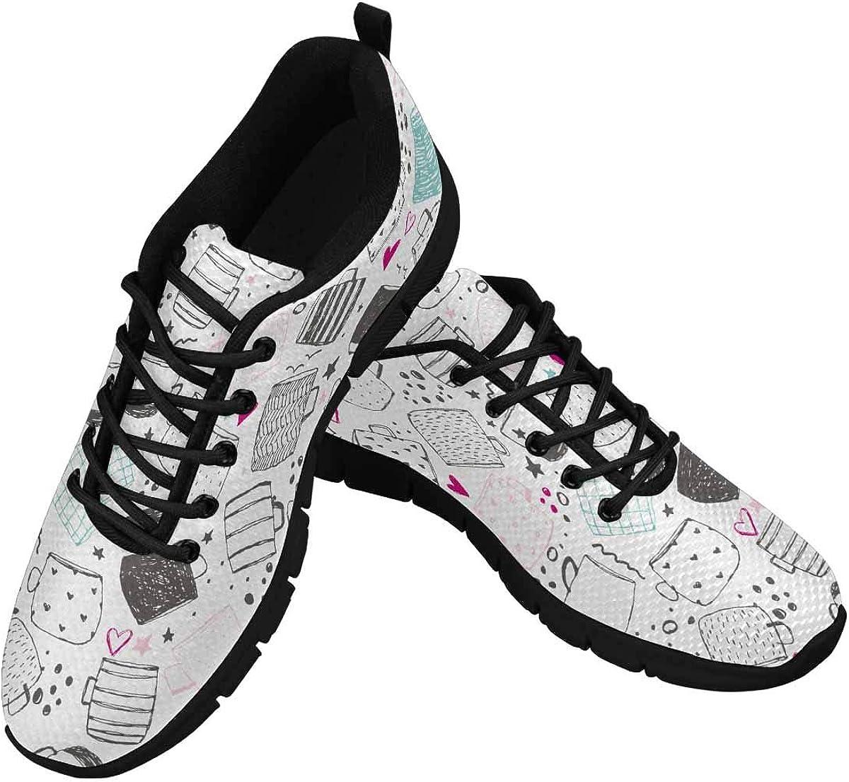 InterestPrint Mug Pattern Women's Lightweight Athletic Casual Gym Sneakers