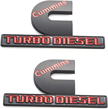 Badges High Output Nameplate Small Size Replacement Sticker for 2500 3500 Fender Emblem 2 Pack Cummins Turbo Diesel Emblems Black//Red