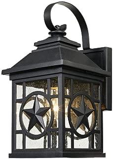 Laredo Texas Star Outdoor Black Medium Wall Lantern
