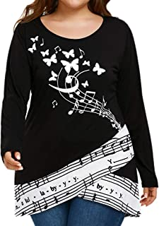 HGWXX7 Women's Tops Long Sleeve Plus Size Butterfly Musicial Note Blouse T-shirt