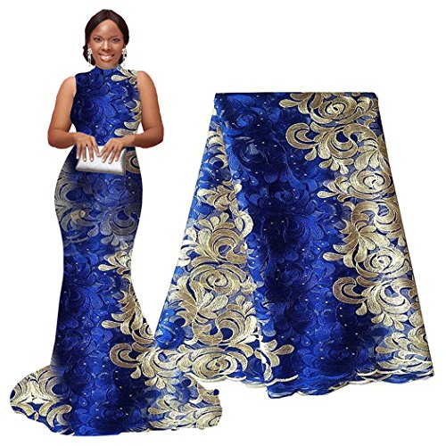 pqdaysun African Lace Fabric 5 yards 2019 Nigerian Lace French Lace Fabric Embroidered and Rhinestones Guipure Cord Lace for Wedding (blue and cream)