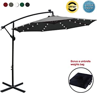 ABCCANOPY 10 FT Solar Powered LED Patio Outdoor Umbrella Hanging Umbrella Cantilever Umbrella Offset Umbrella Easy Open Lift 360 Degree Rotation with 32 LED Lights (Dark Gray)
