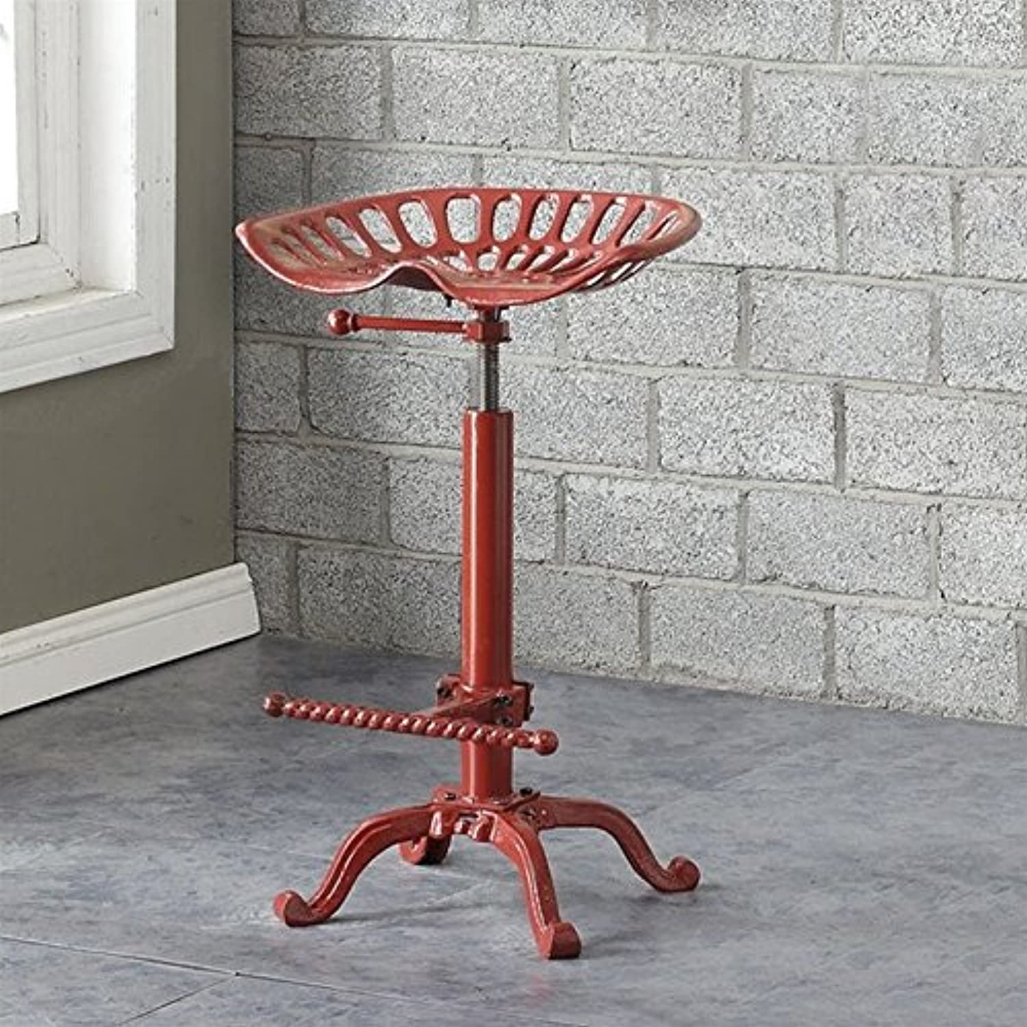 Carolina Classic Vintage Farmhouse 18.75  Metal Stool in Red