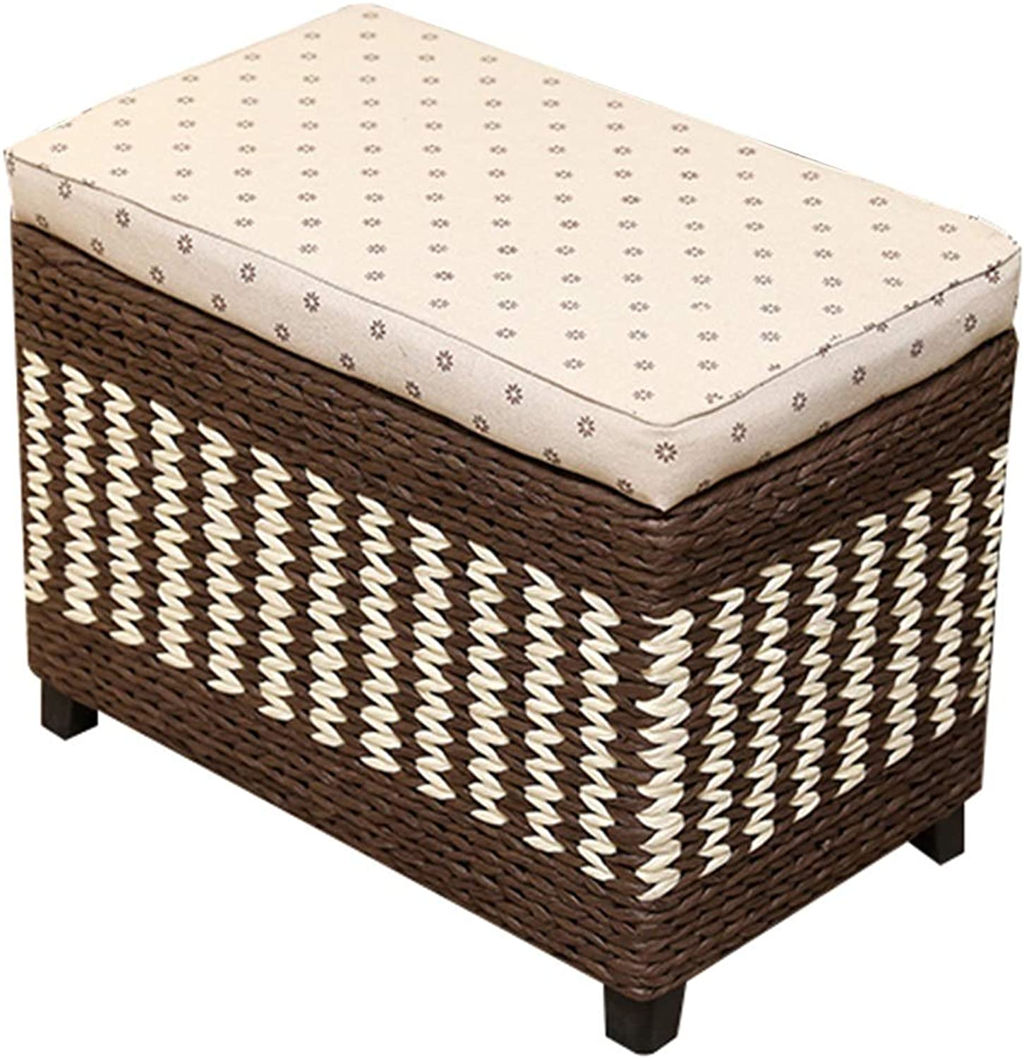CAIJUN Footstool Storage Weaving Solid Wood Frame Multifunction Indoor Portable Festival Gift, 3 colors, 5 Sizes (color   Brown, Size   50x30x30cm)