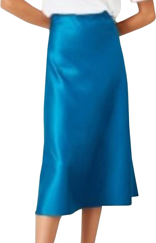SEMATOMALA Women's Satin Midi Skirt Silky Aline Party Skirt Elegant Office Work Zip Up Black Red Bias Cutting Fishtail Skirts