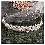 tggh Brautkrone, handgefertigt, Silberfarben, Braut-Stirnband, voller Kristall, Braut-Haarbänder, Vintage-Hochzeits-Haarschmuck
