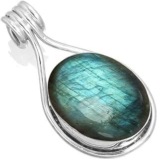 Solid 925 Sterling Silver Gemstone Handmade Pendant for Women