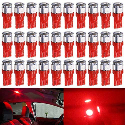 ALOPEE - 30-Pack Red Replacement Stock #: 194 T10 168 2825 W5W 175 158 Bulb 5050 5 SMD LED Light,12V Car Interior Lighting For Map Dome Lamp Courtesy Trunk License Plate Dashboard Parking Lights