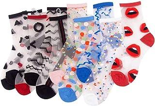 ANDIBEIQI, 10 pares de calcetines de mujer de algodón transparente para verano, elásticos, ultrafinos, de encaje, cortos, con plantilla de algodón antideslizante y punta reforzada
