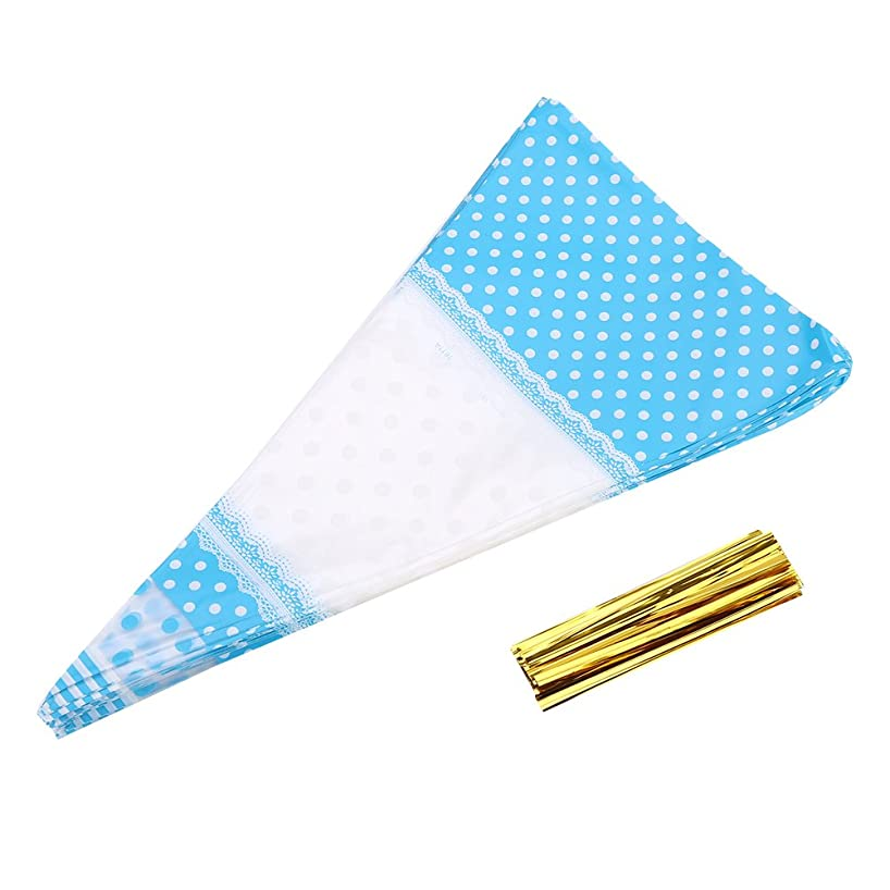 Delaman 50 Clear Cone Shaped Treat Bags OPP Plastic Cellophane Bags Triangle for Favor Christmas Candy Popcorn with Twist Tie (Blue)
