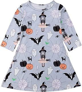 Wassery Halloween Toddler Kids Baby Girls Cartoon Spider Ghost Print Long Sleeve Dress Clothes