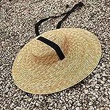 Sombrero de la playa Con Verano Blanco Negro Sun cinta de rafia Sombrero de ala ancha Barquero 15 cm 18 cm del borde del sombrero de paja de las mujeres planas de los hombres del Sombrero Casual j0916