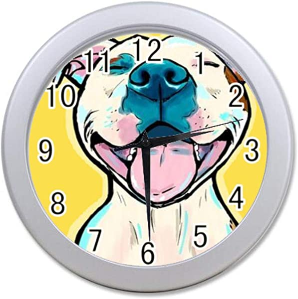 Bernie Gresham Wall Clock Pitbull Dogs Cartoon Wall Clock For Decoration Custom Wall Clock
