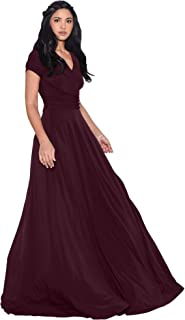 96572ece569 KOH KOH Womens Sexy Cap Short Sleeve V-Neck Flowy Cocktail Gown