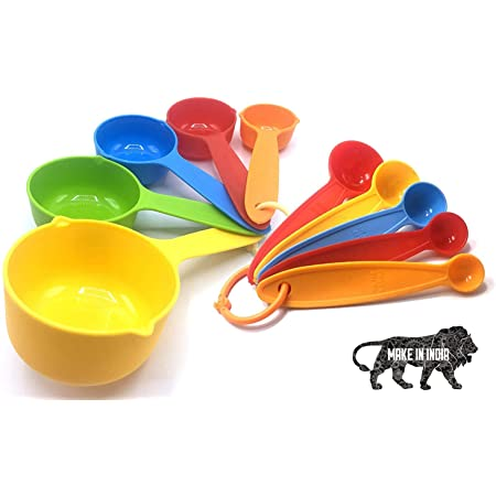 Blazing Star Baking Accessories and Tools Combo Set Essential Material Items Needs kit beginners for Making Cake Measuring Spoons and Cups Set Plastic Different Shapes of Gram(Spoons(5)+Cups(5) -Multi colorful)