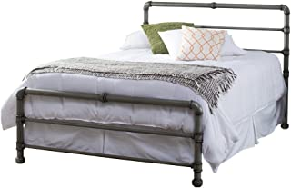 Contemporary Metal Bed Frame Modern Pipe Construction with Headboard Twin Full Queen Kins Size for Kids or Adults Home Decor Bedroom Space Saver (Queen), Bonus e-Book