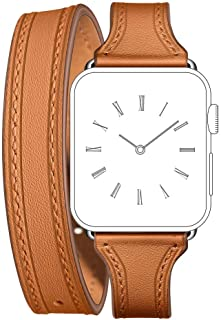 EloBeth Compatible with Apple Watch Band 38mm 40mm Series 5 4 3 2 1 Leather iWatch Band Women Girls (38mm/40mm Brown)