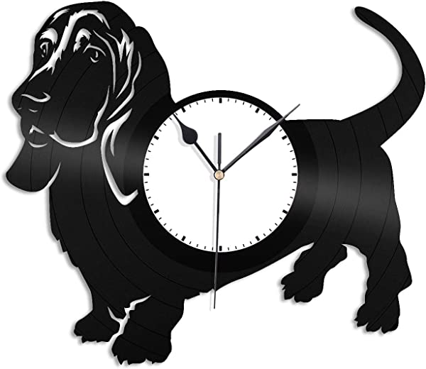 VinylShopUS Basset Hound Vinyl Wall Clock Record Decorative Animals Dogs Unique Gift For Dog Lovers Men Women Decoration Room
