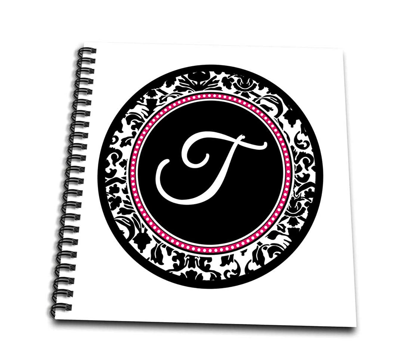3dRose db_154612_1 Letter T Stylish Monogrammed Circle Girly Personal Initial Personalized Black Damask with Hot Pink Drawing Book, 8