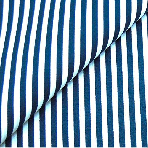0,5m Streifen-Stoff 5mm dunkelblau/weiß Meterware 100% Baumwolle
